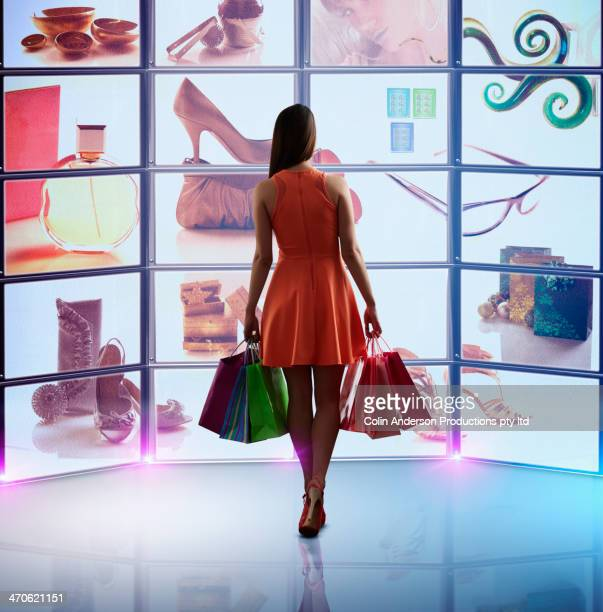 Caucasian woman shopping online