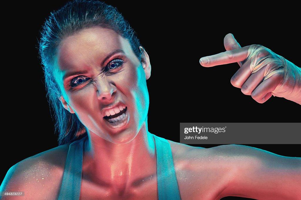 Caucasian woman shouting