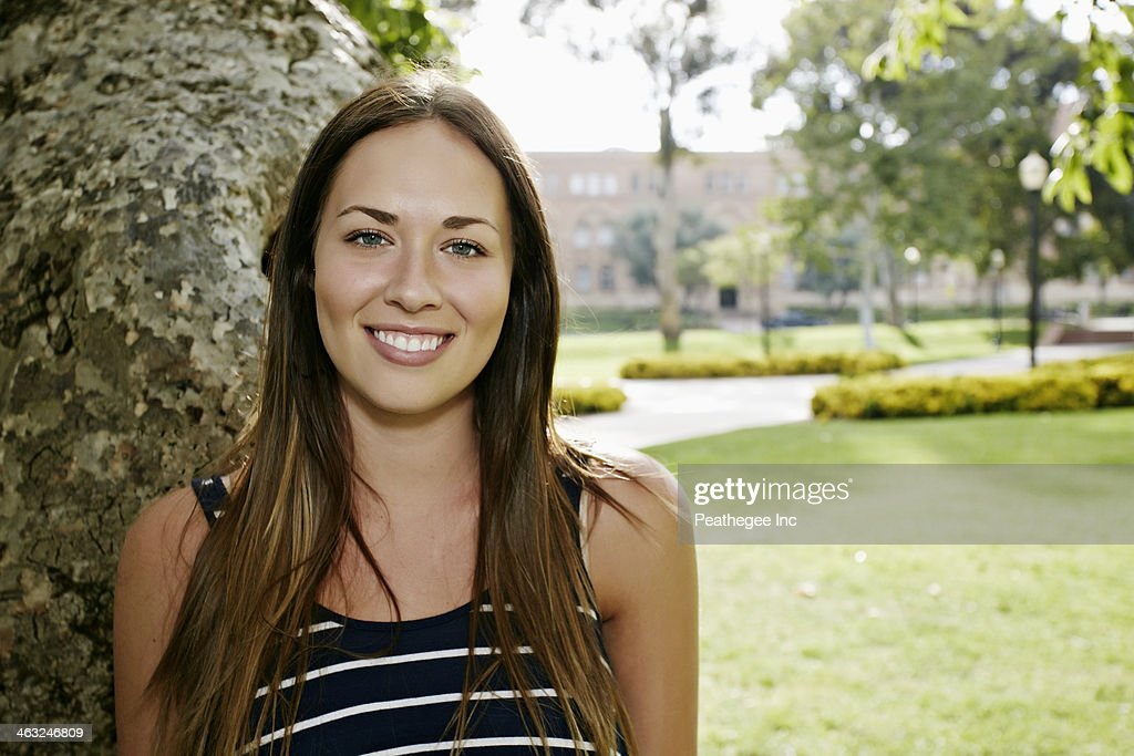 Caucasian woman smiling outdoors : Stock Photo
