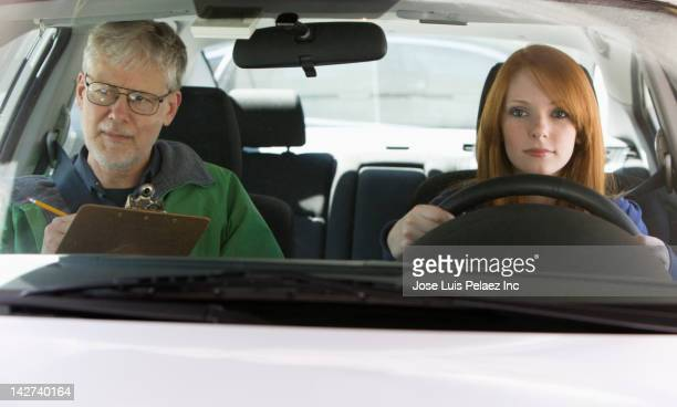 Caucasian woman taking driver's test