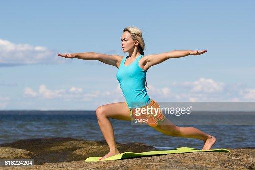 caucasian woman training outside : Stock Photo