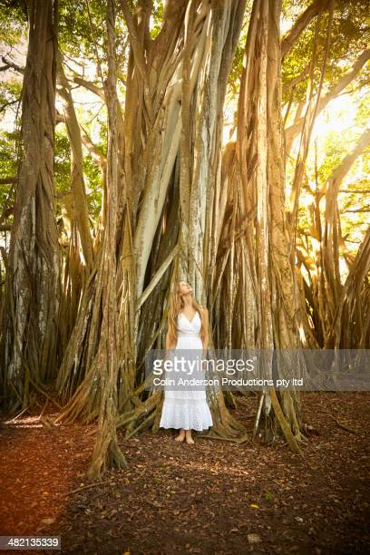 Caucasian woman under banyan tree