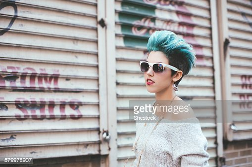 Caucasian woman walking at warehouse