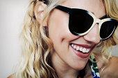 Caucasian woman wearing sunglasses