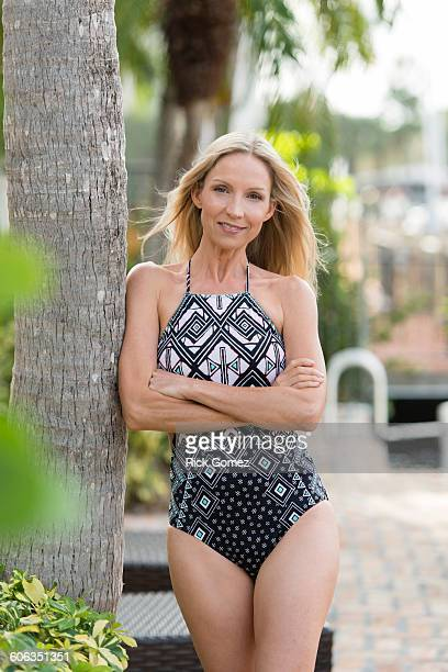 Caucasian woman wearing swimsuit outdoors