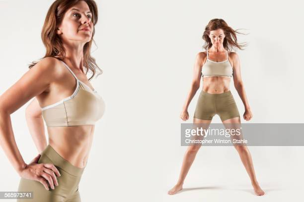 Caucasian woman wearing workout clothes