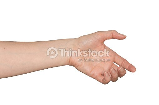 ba94380d01ecc Caucasian woman's empty hand as if holding something. Isolated. : Stock  Photo