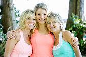 Caucasian women smiling outdoors