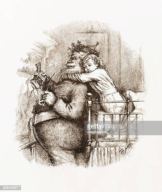 Caught' illustration by Thomas Nast depicting Santa Claus being hugged by a young child engraving 1892