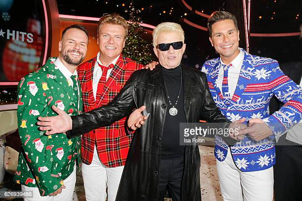Caught in the Act and german singer Heino attend the tv show 'Die schoensten Weihnachtshits' on November 30 2016 in Munich Germany