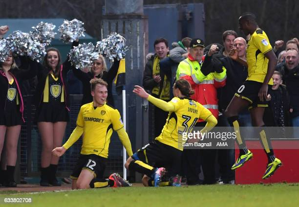 Cauley Woodrow of Burton Albion celebrates after scoring a goal to make it 21 during the Sky Bet Championship match between Burton Albion and...