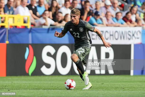 Cauley Woodrow of England in action during the UEFA European Under21 Championship Semi Final match between England and Germany at Tychy Stadium on...