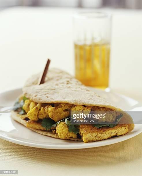 Cauliflower and tofu chapati