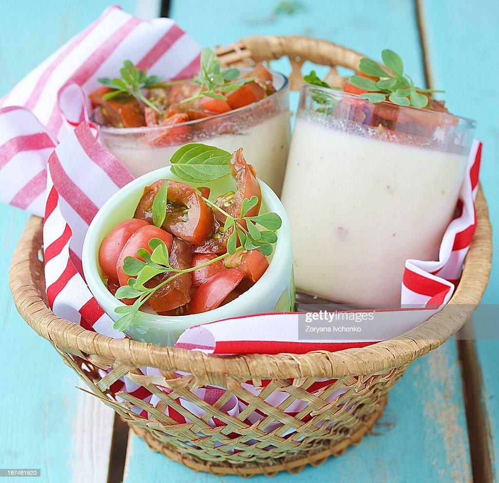 Cauliflower panna cotta : Stock Photo
