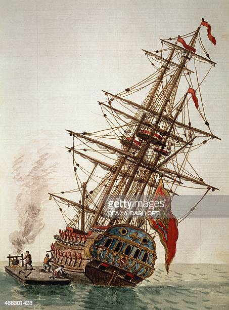 Caulking a ship's hull by Jan Grevenbroeck engraving Italy 18th century