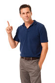 Causal Businessman Gesturing Pointing on White