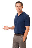 Causal Businessman Gesturing Showing on White