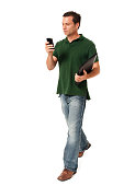 Causal Businessman  Texting with Mobile Phone on White