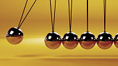 close up of a Newton's cradle