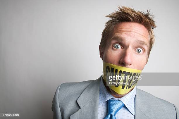 Caution Do Not Speak Businessman Gagged