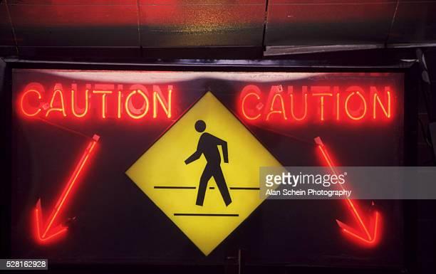 Caution people walking