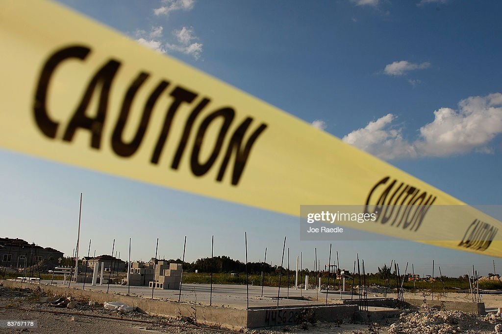 Caution tape marks a construction where a foundation has been laid November 19 2008 in Miami Florida Construction of new homes in the US fell last...