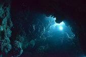 Sunbeam into the dark cave.Sunbeam into the dark cave.Miyakojima-island,Okinawa,Japan.