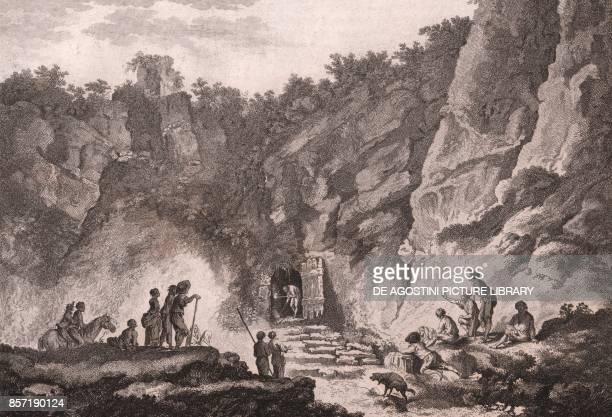 Cave of Dogs Agnano Phlegraean Fields Campania Italy etching ca 245x19 cm from Voyage pittoresque a Naples et en Sicile Nouvelle edition by...