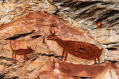 Rock Painting on a Cave at the archaeological site of Pedra Pintada in Barao de Cocais - Brazil