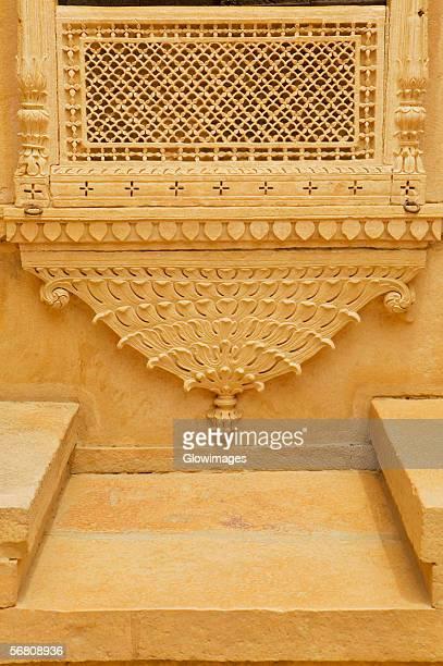 Caved wall of a palace, Rajmahal, Jaisalmer, Rajasthan, India