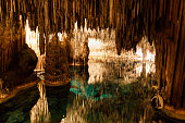 Caves of Drach with many stalagmites and stalactites. Mallorca, Spain