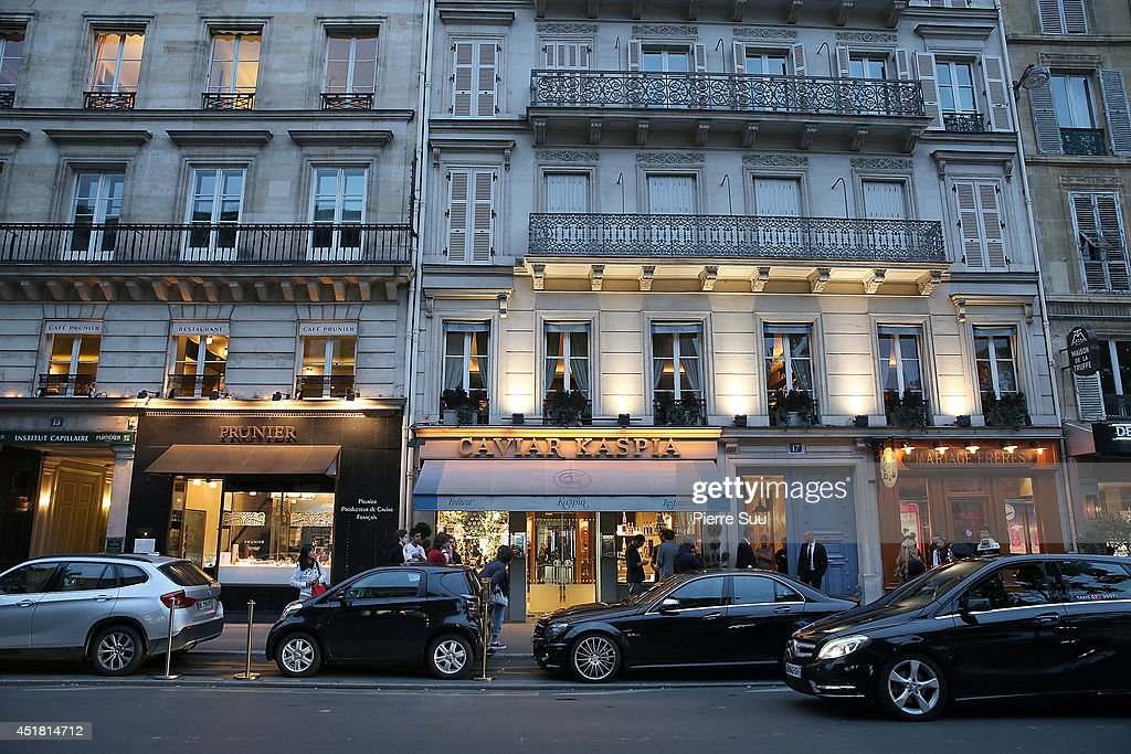 Caviar Kaspia restaurant where the 'Dior' dinner is taking place on July 7, 2014 in Paris, France.