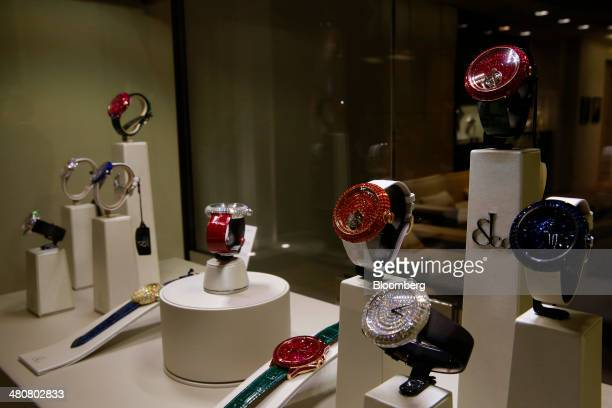Caviar Torbillon wristwatches produced by Jacob Co sit displayed at the company's booth during the Baselworld luxury watch and jewelry fair in Basel...