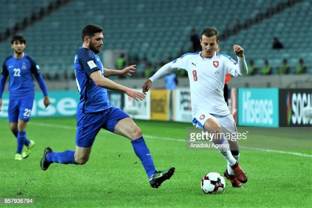 Cavid Huseynov of Azerbaijan in action against Vladimir Darida of Czech Republic during the 2018 FIFA World Cup European Qualification match between...