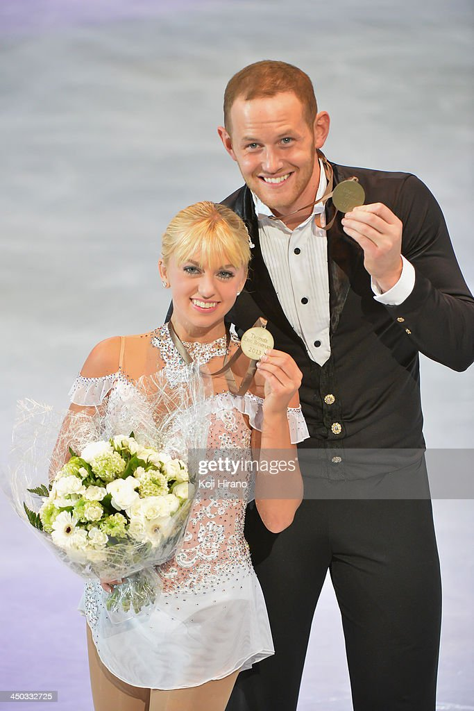 <a gi-track='captionPersonalityLinkClicked' href=/galleries/search?phrase=Caydee+Denney&family=editorial&specificpeople=5675848 ng-click='$event.stopPropagation()'>Caydee Denney</a> and John Coughlin of the USA pose after winning the bronze medal in the Paris Free Skating during day two of Trophee Eric Bompard ISU Grand Prix of Figure Skating 2013/2014 at the Palais Omnisports de Bercy on November 16, 2013 in Paris, France.