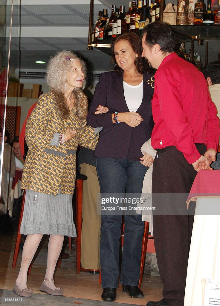 Cayetana Fitz-James Stuart, Duchess of Alba (L) and Carmen Tello (C) are seen leaving a restaurant on March 11, 2013 in Seville, Spain.