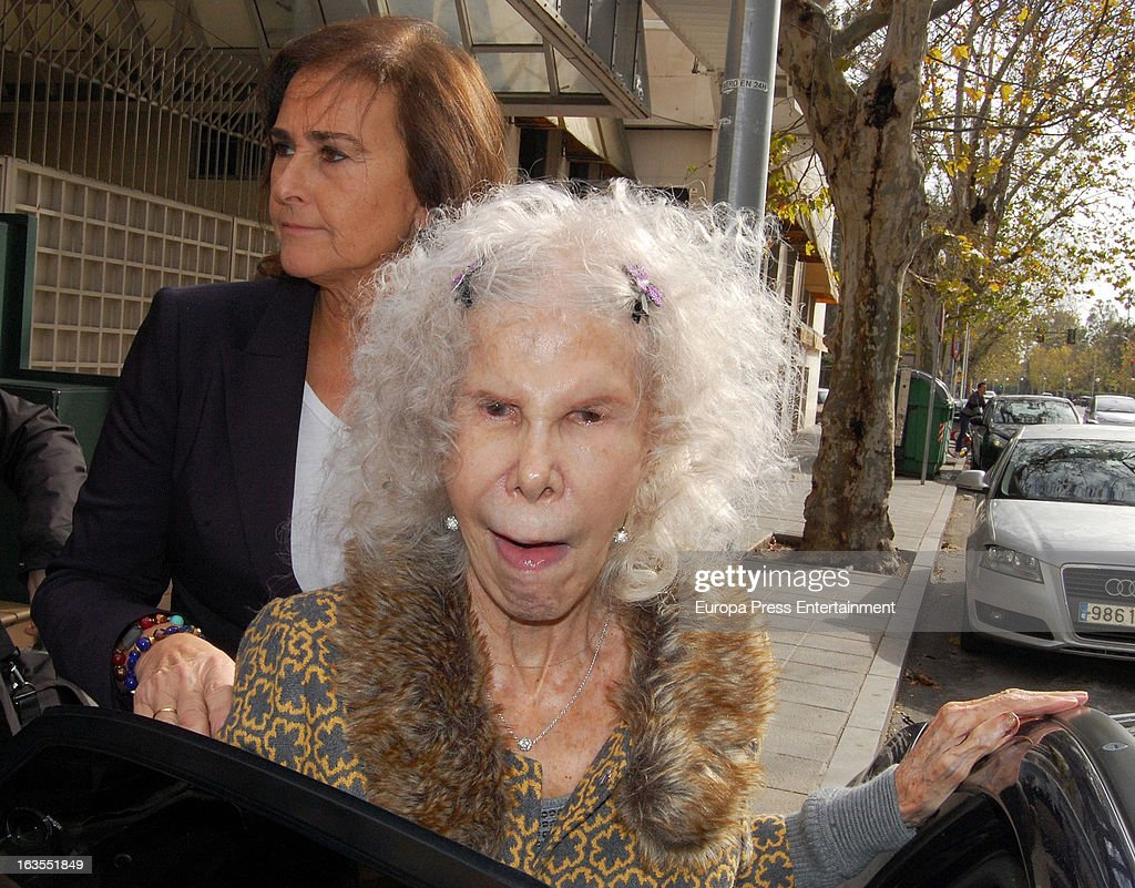 Cayetana Fitz-James Stuart, Duchess of Alba (R) and Carmen Tello (L) are seen leaving a restaurant on March 11, 2013 in Seville, Spain.