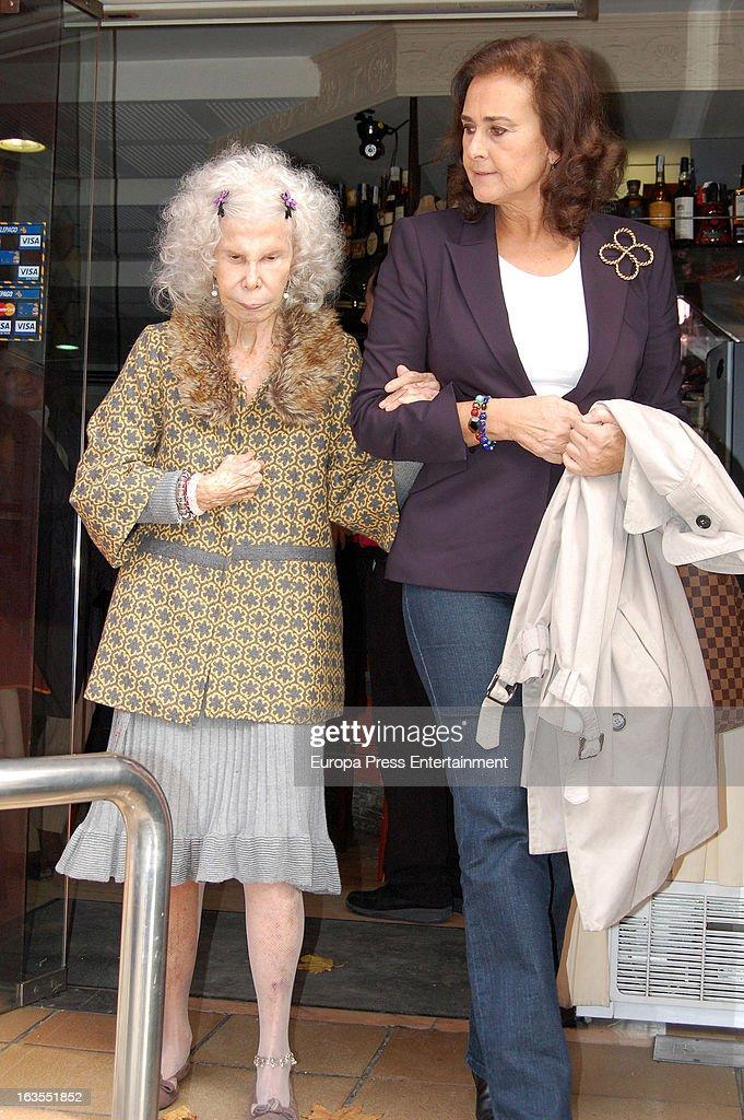Cayetana Fitz-James Stuart, Duchess of Alba (L) and Carmen Tello (R) are seen leaving a restaurant on March 11, 2013 in Seville, Spain.