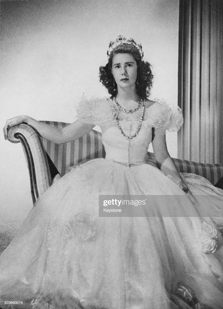 Cayetana FitzJames Stuart Duchess of Montoro wearing a ballgown and tiara circa 1947