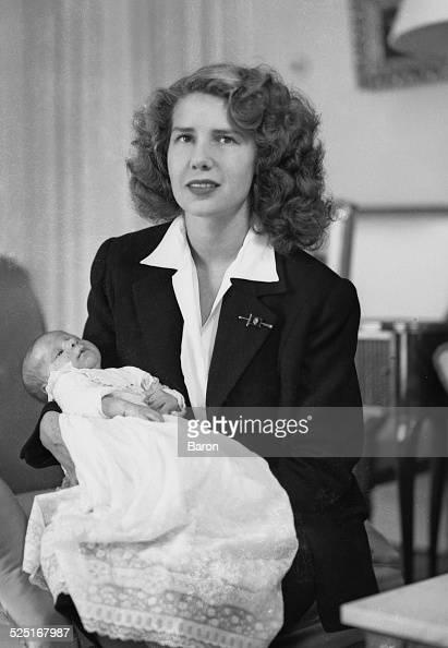 Cayetana FitzJames Stuart Duchess of Montoro with her son Carlos 14th Duke of Huéscar 1948