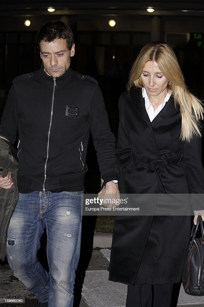 Cayetana Guillen Cuervo (R) and Omar Ayyasshi attend the funeral chapel for actor Fernando Guillen at Tres Cantos Chapel on January 17, 2013 in Madrid, Spain.