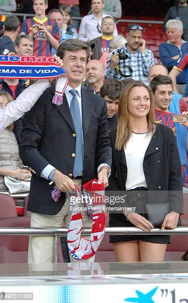 Cayetano Martinez de Irujo and Melanie Costa attend FC Barcelona v Club Atletico de Madrid the league final match at Camp Nou on May 17 2014 in...