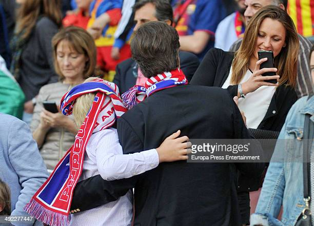 Cayetano Martinez de Irujo his son Luis Martinez de Irujo and Melanie Costa attend FC Barcelona v Club Atletico de Madrid the league final match at...