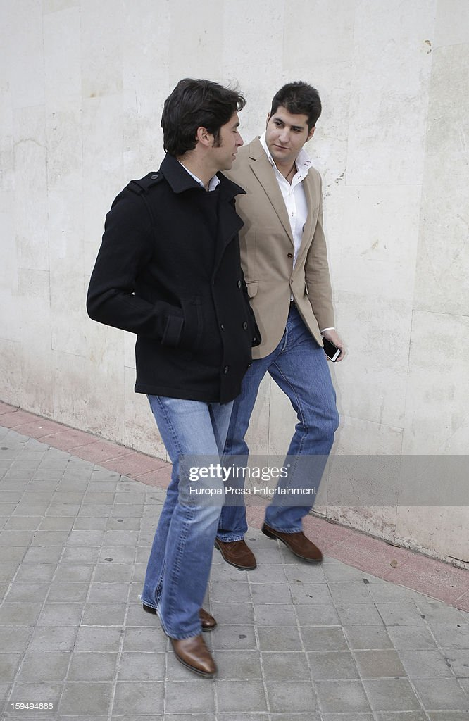 Cayetano Rivera (L) and Julian Contreras leave court on January 14, 2013 in Madrid, Spain. The bullfighter Francisco Rivera and ex wife Duchess of Montoro Eugenia Martinez de Irujo are fighting for the custody of their daughter.