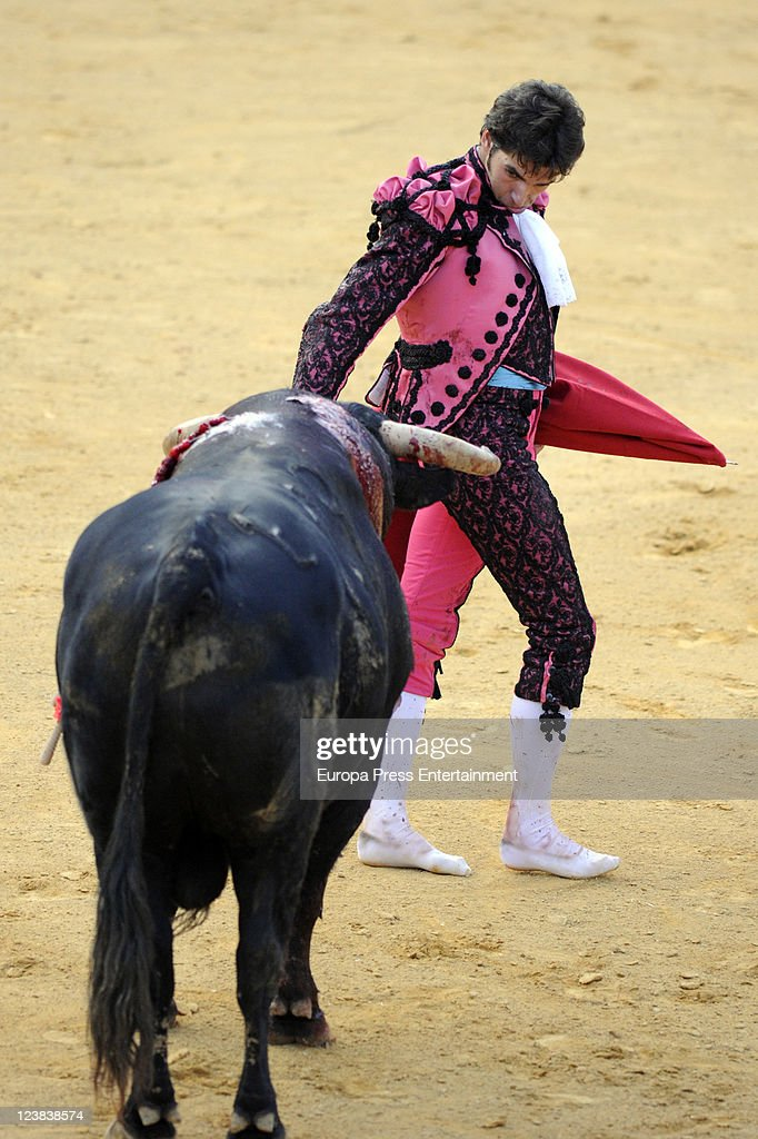 Cayetano Rivera performs during the 'Goyesca' Bullfights on September 3, 2011 in Ronda, Spain. The bullfight events, linked to The Feria Goyesca (Feria de Pedro Romero), stem from the inter-relationship of three main personae which spanned over three centuries, all of whom have strong connections to Ronda. These are the famous 18th century bullfighter, Pedro Romero; the 18th century Spanish painter, Francisco de la Goya; and also the 20th century bullfighter, Antonio Ordonez, to whom the vision of the Ronda's modern Feria Goyesca can be attributed.