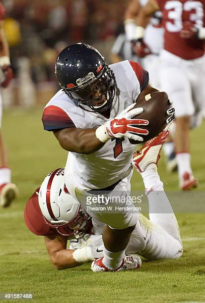 Cayleb Jones of the Arizona Wildcats dives for the endzone but comes up a half yard short against the Stanford Cardinal in the third quarter of an...