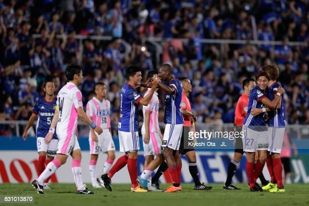 Cayman Togashi and Martinus of Yokohama FMarinos celebrate their 10 victory in the JLeague J1 match between Yokohama FMarinos and Sagan Tosu at...