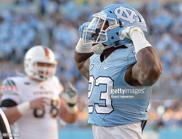 Cayson Collins of the North Carolina Tar Heels reacts after a defensive stop against the Miami Hurricanes during their game at Kenan Stadium on...