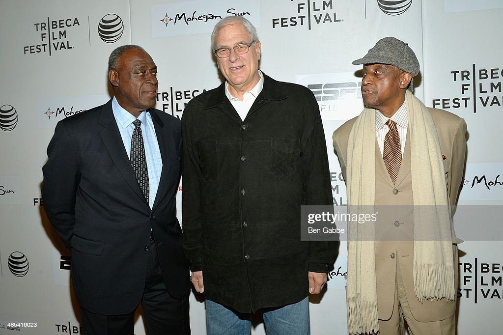 Cazzie Russell, <a gi-track='captionPersonalityLinkClicked' href=/galleries/search?phrase=Phil+Jackson&family=editorial&specificpeople=201756 ng-click='$event.stopPropagation()'>Phil Jackson</a> and Dick Barnett attend the Tribeca/ESPN Sports Film Festival Gala: 'When The Garden Was Eden' during the 2014 Tribeca Film Festival at BMCC Tribeca PAC on April 17, 2014 in New York City.