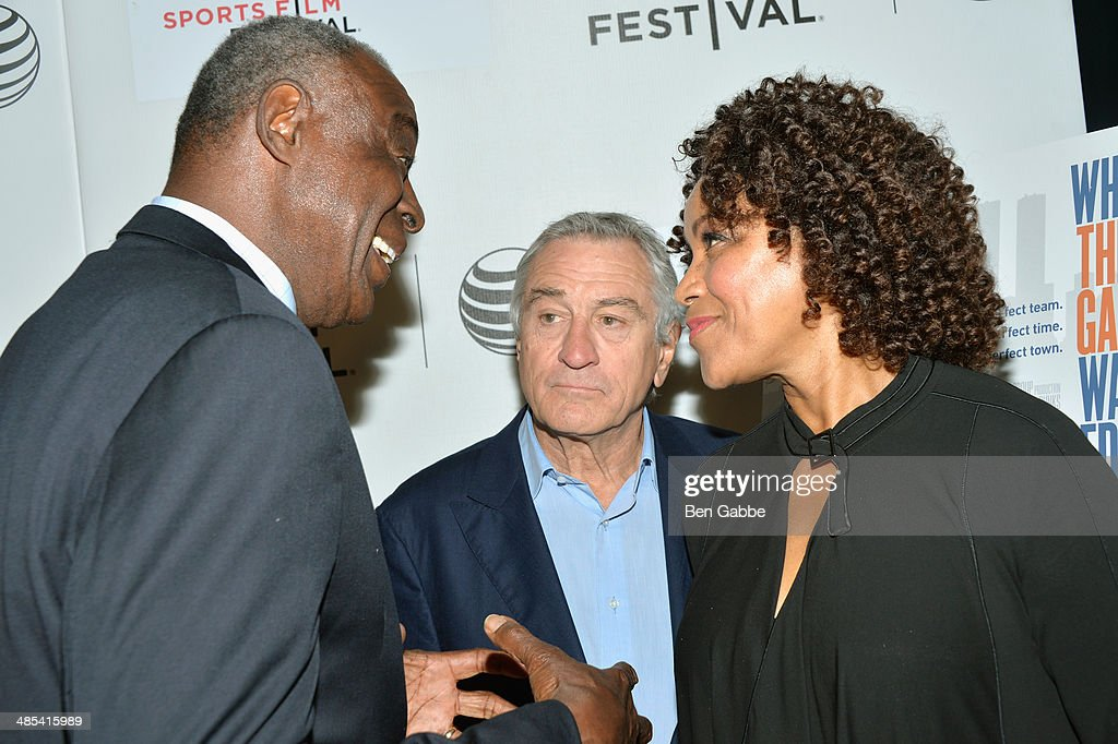 Cazzie Russell, <a gi-track='captionPersonalityLinkClicked' href=/galleries/search?phrase=Robert+De+Niro&family=editorial&specificpeople=201673 ng-click='$event.stopPropagation()'>Robert De Niro</a> and <a gi-track='captionPersonalityLinkClicked' href=/galleries/search?phrase=Grace+Hightower&family=editorial&specificpeople=211382 ng-click='$event.stopPropagation()'>Grace Hightower</a> attend the Tribeca/ESPN Sports Film Festival Gala: 'When The Garden Was Eden' during the 2014 Tribeca Film Festival at BMCC Tribeca PAC on April 17, 2014 in New York City.